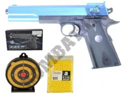 BUNDLE DEAL 2123-A1 1911 BB Gun Black and Blue + Sticky Target + 1000x12g Pellets